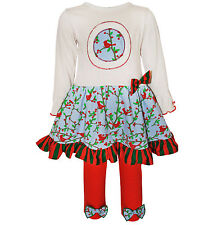 AnnLoren Girls Christmas Red Robin Dress & Legging Holiday Outfit 12/18 mo- 9/10