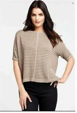 NEW ANN TAYLOR Short Sleeve Boat Neck Stripe Sweater NWT $88.00 Brown Beige