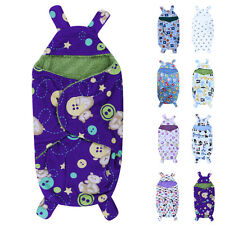 Newborn Baby Infant Fleece Hooded Swaddle Wrap Swaddling Blanket Sleeping Bag
