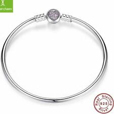 925 Sterling Silver Solid Bangle Purple CZ Heart Clip European Bracelet for Bead