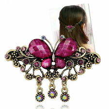 Vintage Purple Red Crystal Rhinestone Butterfly Cute Lady Hairpins Hair Clips