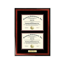 Double College Certificate Frame Dual Diploma Graduation University Engraved