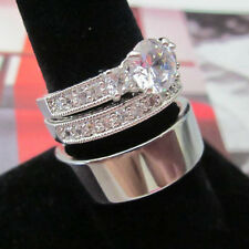3 Wedding Ring Set - His Tungsten Silver Flattop & Her Classic Italian 2 Ring