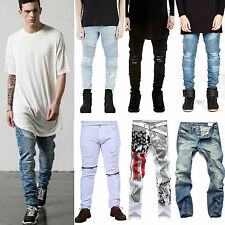 2016 Fashion Mens Straight Slim Fit Biker Denim Jeans Trousers Skinny Jean Pants
