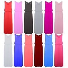Womens Sleeveless Jersey Toga Ladies Racer Back Long Top Puff Ball Maxi Dress