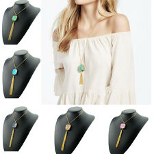 Fashion Charms Gold Plated Tassel Crystal Natural Stone Pendant Necklace Jewelry