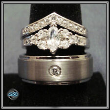 NEW 3 RING HIS BRUSHED DOME CZ Tungsten & HER Midori Wedding Band SET Size 5-13