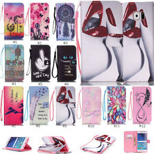 For iPhone Galaxy Flip Stand PU Leather Wallet Strape Case Cover Patterned