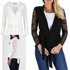 Womens Ladies Floral Lace Long Sleeve Open Front Collared Layer Cardigan Blazer