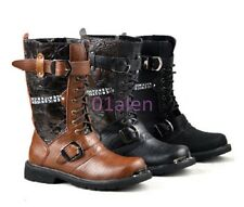 Mens Military Combat Mid Calf Leather Vintage Western Cowboy Boots Retro Shoes