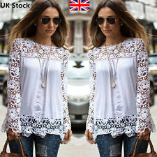 New Womens Sexy Ladies Embroidery Lace Long Sleeve Top Shirt Blouse T shirt