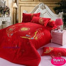 3D Bedding Quilt Doona Duvet Cover Bed Sheet Pillowcase Set Queen -Dragon  Birds