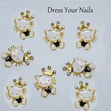 3d Gold Alloy Metal Hello Kitty with Crown  Nail Art - Craft  White Gold Black