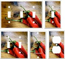 Light Switch Cover Plate ~ Hot Red Chili Peppers Cooking Inspired Kitchen Image
