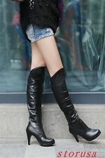 Womens High Heel Faux Leather Knee High Boots Cosplay Shoes Plus Size 48 Strench