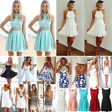 Women Summer Bandage Floral Casual Party Evening Cocktail Beach Short Mini Dress
