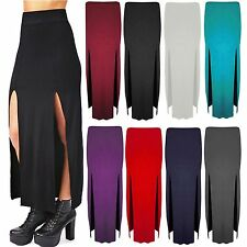 Ladies Gypsy Maxi Side Cut Out Womens Plain Girl Split Slit Long Skirt Size 8-14