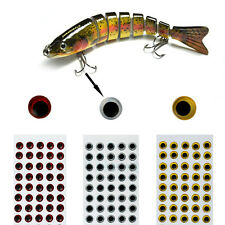 40Pcs 3D Holographic Fishing Lure Eyes Fly Realistic Tying Jigs Craft 10-14mm