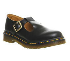 Womens Dr. Martens Polley T-bar Shoes BLACK LEATHER Flats