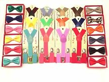 Suspender Bow Tie Matching Colors Baby Toddler Kids Boys Child USA Suspenders