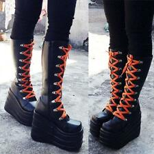 New Women Cosplay Lace Up High Platform stitched Chunky Heels Knee High Boots#