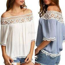Summer Women Sexy Off Shoulder Casual Short Sleeve Lace Slim T-Shirt Top Blouse