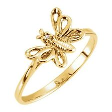 DIAMOND BUTTERFLY RING 10kt or 14kt Yellow, Rose or White Gold & Sterling Silver