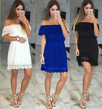 Sexy Womens Ladies Off Shoulder Summer Beach Lace Party Casual Short Mini Dress