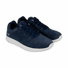 Skechers Go Walk City Retain Mens Blue Suede Lace Up Sneakers Shoes