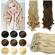 100% Real Natural Full Head Clip in Hair Extensions 18 clips Straight Wavy T5M