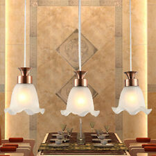 Retro Copper Brass 3 Lights Ceiling Pendant Lights Glass Shade Hanging Fixtures