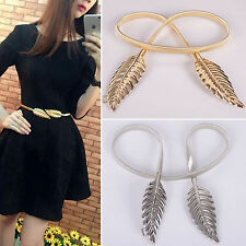 Women Lady Leaves Metal Buckle Elastic Cummerbund Chain Belt Strap Waistband New