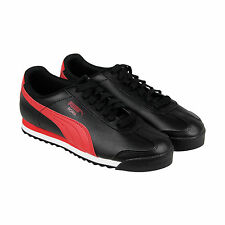 Puma Roma Basic FS Mens Black Red Leather Lace Up Sneakers Shoes