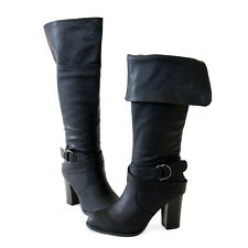 Chic Trendy Buckle Ankle Strap Back Zip Cuff Knee High Boots Black All Sz