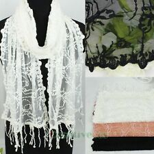 Women's Embroidery Lace Butterfly Lace Trim Floral Long Scarf Lady Shawl Tassel