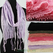 Stylish Women Floral Lace Mantilla Thin Long Scarf Lace Trim Shawl Tassel Retro