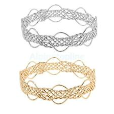 Simple Fashion Braided Weave Design Hollow Cuff Bracelet Bangle Jewelry Women