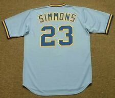 TED SIMMONS Milwaukee Brewers 1982 Majestic Cooperstown Away Baseball Jersey