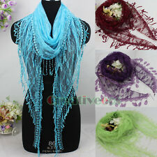 Fashion Women's Crochet Flowers Thin Mesh Tassel Solid Color Triangle Scarf New