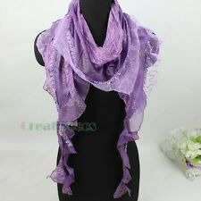 Stylish Fashion Floral Mesh Sequins Trim Ruffle Trim Tassel Scarf Shawl Wrap New