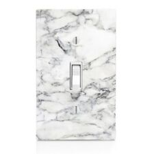 Light Switch Plate Cover With White Marble Wall Plate Single Double Stone Print