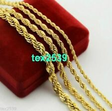 """Gold plated Rope. 18K Chain Necklace 18"""" to  24"""",& 2, 3, 6, mm LIFETIME WARRANTY"""