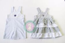 twins boy girl sister brother siblings matching outfit dress overalls 3-24 month