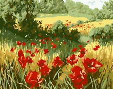 Beautiful Red Corn Poppy Field Needlepoint Canvas