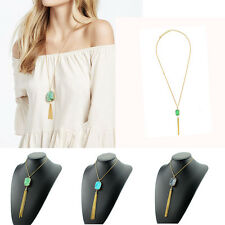 Natural Stone Gold Plated Tassel Crystal Fashion Pendant New Necklace Jewelry