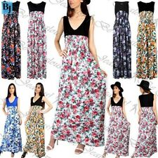 Womens Sleeveless V Neck Maxi Dress Ladies Contrast Floral Roses Ruched Stretchy