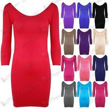 Womens Bodycon Stretchy Short Dress Scoop Neck Ladies Long Min Dresses Top 8-26