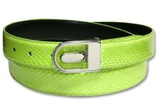 Men's Snake Skin Belt LIME GREEN Genuine SnakeSkin Bonded Leather Belt & Buckle