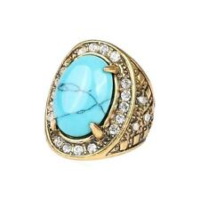 Blue Turquoise Rhinestone Ring Pattern Carved Bridal Party Rings Unisex