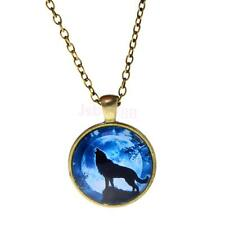 Unisex Shiny Wolf Glass Charm Pendant Necklace jewelry